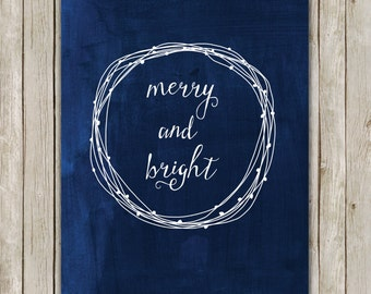 8x10 Christmas Printable Decor, Merry and Bright, Typography Print, Digital Blue Holiday Decor, Wreath Holiday Wall Art, Instant Download