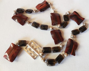 925 sterling Silver, Cat Eye Agate necklace, Smoky Quartz necklace