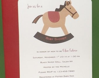 Rocking Horse Invitation, Boy Baby Shower Invitation -