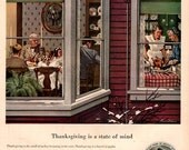 1950 Thanksgiving is a state of mind print ad vintage decor ephemera Holiday, Prudential, home life, celebration