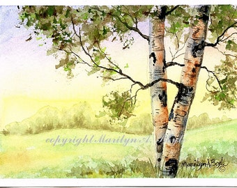 ORIGINAL WATERCOLOR PAINTING; birches, afternoon, original art, 5 x 7 inches, scene, nature