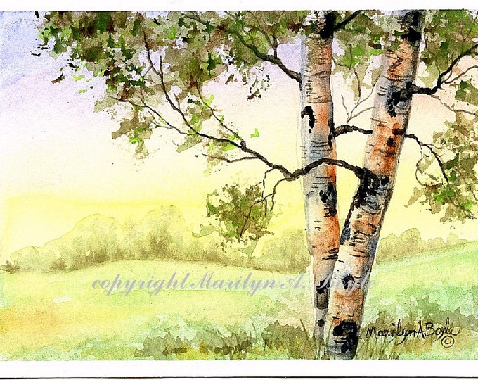 ORIGINAL WATERCOLOR PAINTING; birches, afternoon, original art, 5 x 7 inches, scene, nature, matted 8 x 10 inches