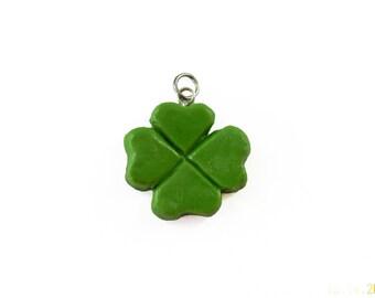 Shamrock Charm - Polymer Clay Charm - Four Leafed Clover Charm - Irish Charm - St Patricks Charm - Green Jewelry