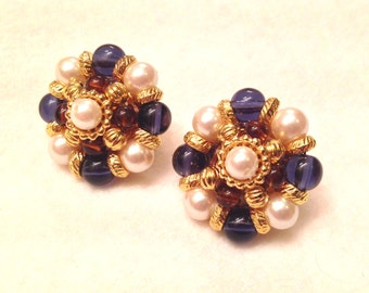 Vintage Elegant Beaded Faux Pearl and Blue and Amber Stone Cluster Earrings
