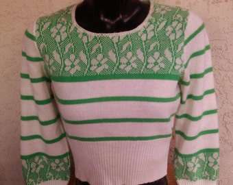 Vintage 70s Cropped Knit Winter Ski Sweater
