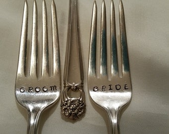 Wedding Forks silver plated Bride Groom 1940s Mid Century 2 Cake Forks Hand stamped Wonky Recycled Gatsby Wedding Gift Shower Actual photos