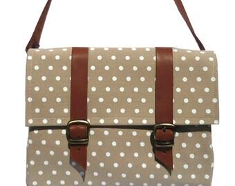 Polka dots bicycle bag/ leather and canvas bike bag/ shoulder bag
