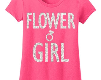 FLOWER GIRL Shirt Pink with Silver Glitter Print, Pick Print Style, Flower girl shirt, Wedding shirt, Bridal shirt, flower girls, wedding