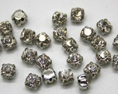 high quality 5.5mm crystal glass clear diamond bead silver setting facet scrapbook round rhinestone jewellery handcraft sewing flat back