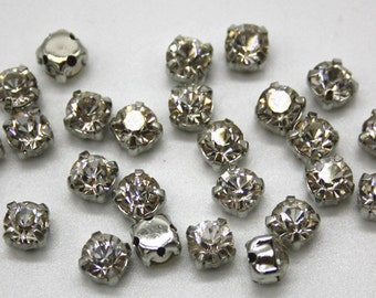 high quality 5.5mm crystal glass clear diamond bead silver setting facet  scrapbook round rhinestone jewellery handcraft sewing flat back 751f4bc2d91f
