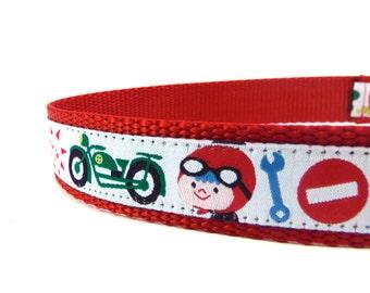 Biker dog collar/ Motorcycle ribbon dog collar/ adjustable dog collar/ Martingale collar