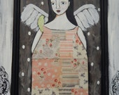 Tall Folk Art Angel Painting With Bird Scrapbook Paper Dress On Recycled Door