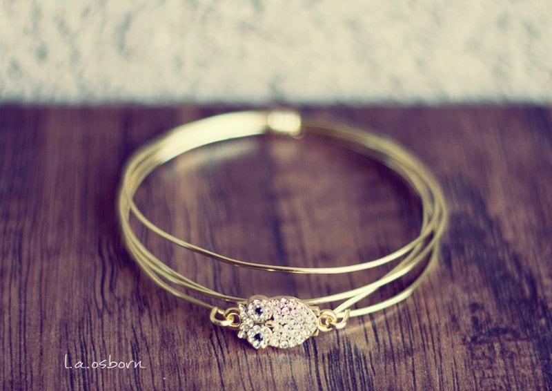 owl bracelet, bridesmaid bracelet, bridal bracelet, stack bracelet, gold bracelet, dainty bracelet, wrap bracelet