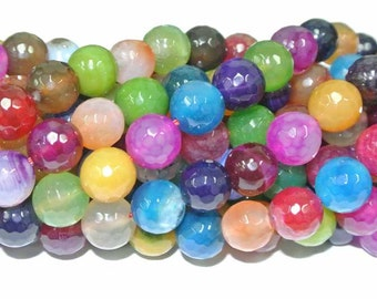 Agate Beads, Round Agate Beads, 1 strand, 6mm Multi color agate beads, Bright Agate Beads, Faceted Agate Beads, Wholesale Beads