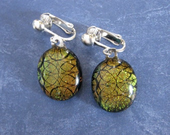 Dichroic Copper Clip On Earings, Brown Dangle Clip Earrings, Ear Clip Jewelry - Marlee - 2065 -4