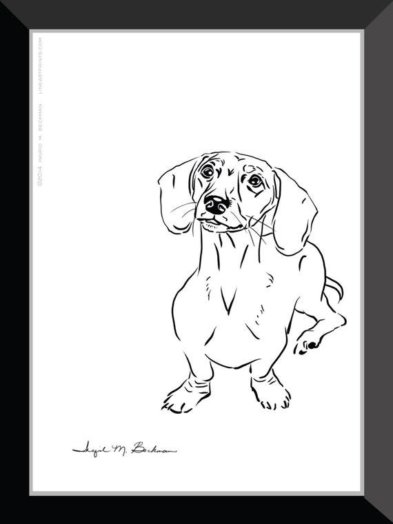 Line Drawing Dachshund : Dachshund print dog wall art room decor black and white