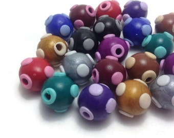Handmade Beads, Unique Beads, Clay Beads, Jewelry Making, Craft Supplies, Round Beads, Cute Beads, Jewelry Supplies, Packs of 10 & 20