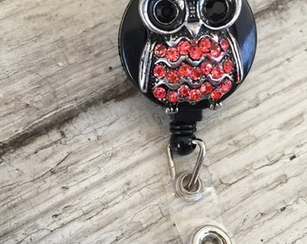3D Bling Owl ID badge holder/ Rhinestone Retractable Badge Reel-Red