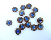 6 x 14mm Marbled Blue Picasso Sunflower Czech Glass Beads, Sunflower Beads, Table Cut Beads, Blue Flower Beads CON0016