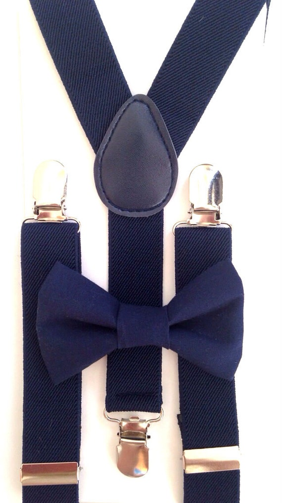 Navy Blue Suspenders and Navy Blue Bow Tie