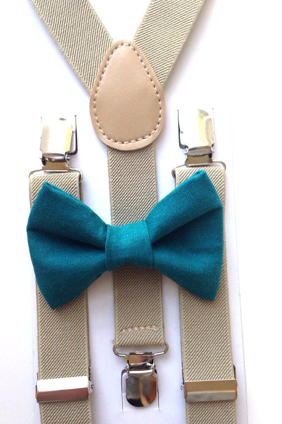 Tan Suspenders and Teal Bow Tie