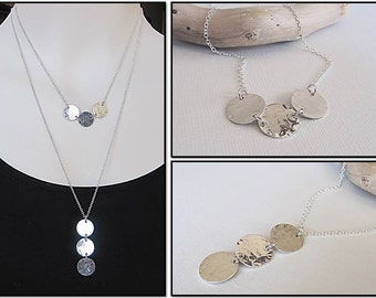 Hammered Silver Necklace, Trio of Wishes Necklace,Disc Necklace, Horizontal Hammered Necklace, Simple Necklace, Layering Jewelry, Unique