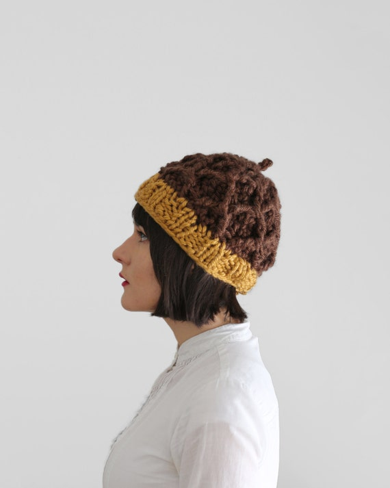 Knitting Pattern For Acorn Hat : Acorn Hat Knit and Crochet Chunky Hat Fall by KattysHandcrafts