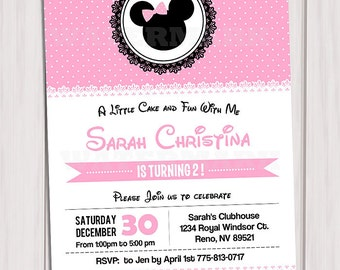 MINNIE MOUSE INVITATION, Minnie Mouse Card, pink Birthday Card, Party Invitation, Invitation, Pink, Polka Dot, Diy