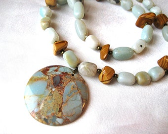 Earthy impression stone, amazonite & tiger jasper necklace. Boho/southwest style. Blue, turquoise, aqua and brown aqua terra jasper jewelry.