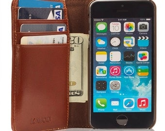 Iphone 5 5S Hand Made Kavod Retro Vintage Real Genuine Italian Leather Book Style Slim Wallet Case Cover
