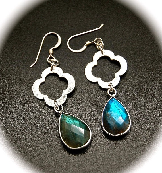 Labradorite and Silver Clover Earrings