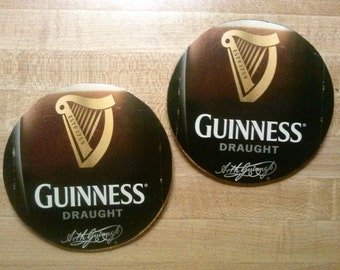 Guinness upcycled coasters, large pair