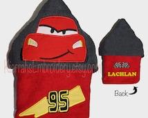 CHILDS, Hooded Towel, Bath Towel, Towel, Boys Hooded Towel, Boy Bath Towel, Boy Towel, Cars Towel,  Lightning mcqueen, Racing Car, character