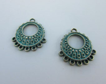 2x Earring connector greyish green color, verdigris patina, jewelry component, earrings suspender, tribal, boho, gypsy, earrings