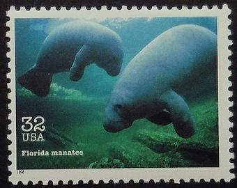 Florida Manatee USA -Handmade Framed Postage Stamp Art 19583