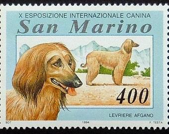 Afghan Hound Dog, Levriere Afgano San Marino -Handmade Framed Postage Stamp Art 10442AM