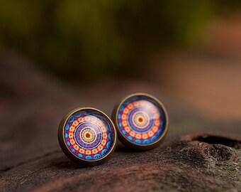 Tiny mandala earrings, mandala stud earrings, antique brass earrings, gun metal studs, post earrings, stud earrings, glass studs