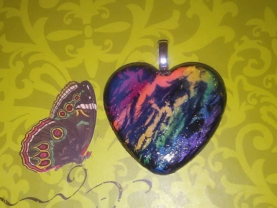 Pendant - Rainbow Crackle Heart