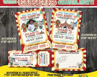 carnival invite  etsy, Birthday invitations