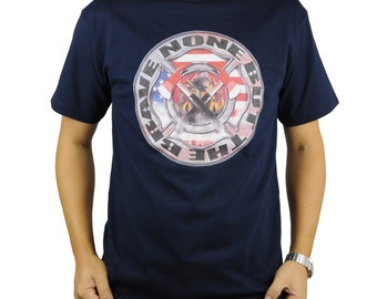 United States American FireFighter T-Shirt Navy Blue