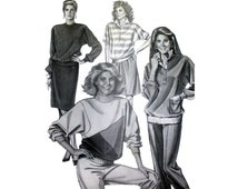 """Women's Rugby Shirt and Color-Spliced Crew Neck Pullover Sewing Pattern Bust 30,32,34,36,38,40,42,44,46"""" Vintage Uncut Stretch & Sew 383"""