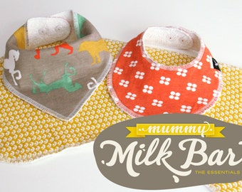 Pattern 'MUMMY MILK BAR' Bib & Burp Cloth Bundle
