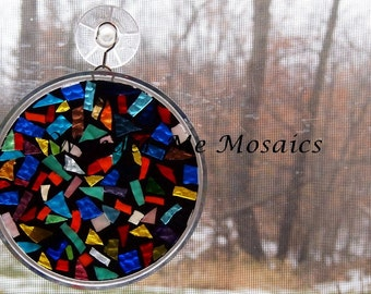 Stained Glass on Glass Mosaic - Multicolored Circle Suncatcher