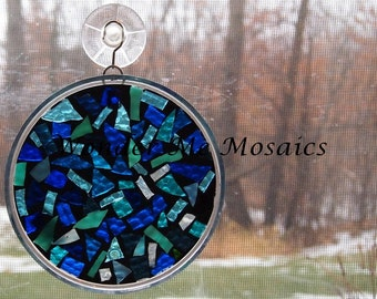 Stained Glass on Glass Mosaic - Blue Circle Suncatcher