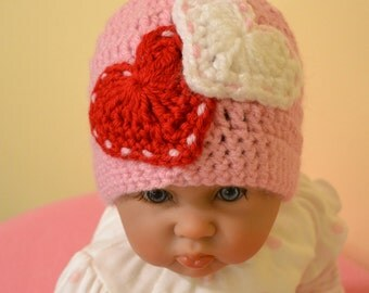Crochet Baby Girl Hat Newborn Photo Prop 0 to 3 months