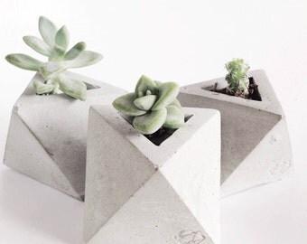 Navire de mini octaèdre géométrique Original béton
