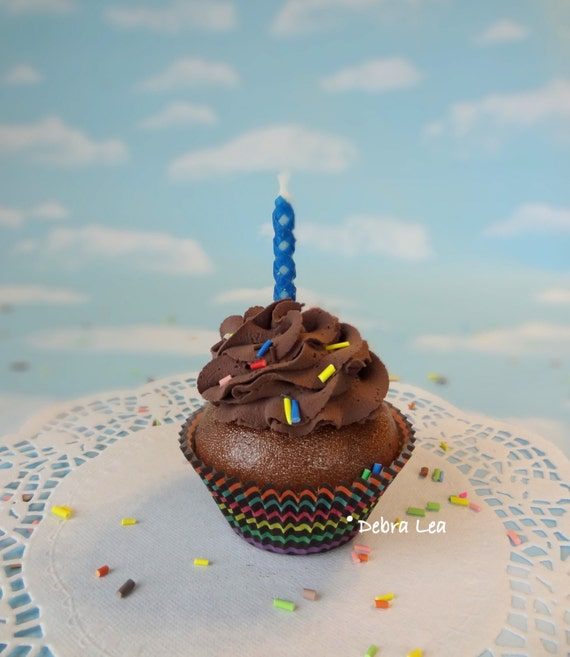 Fake Cupcake Handmade Happy Birthday Celebrate Cupcake with Chocolate Frosting Sprinkles and Candle Unisex