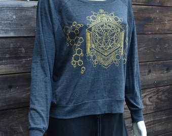 Tri-Black Raglan Pullover Sweater - Golden Sacred Geometric Honey Bee Design - Sacred Geometry - Yoga Wear