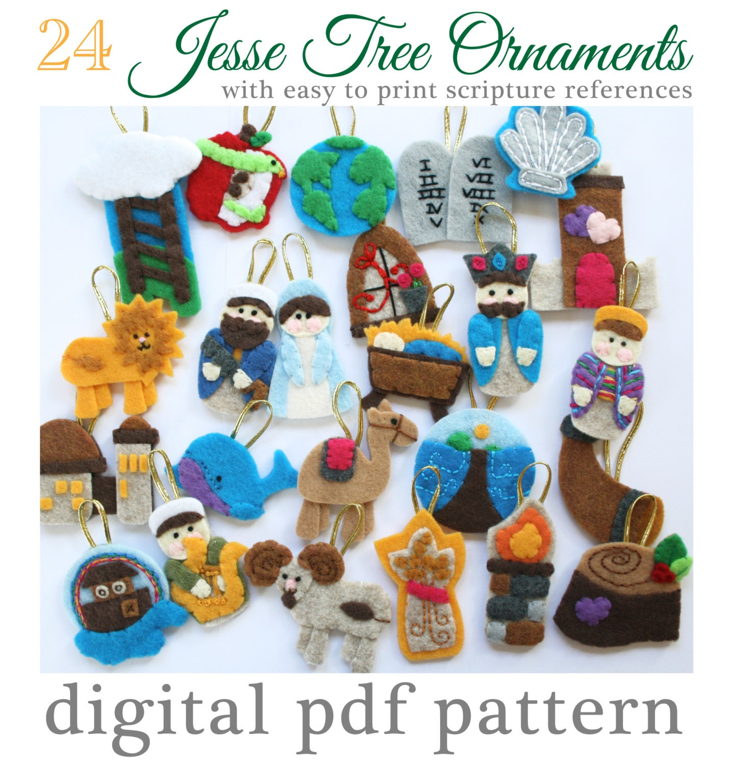 24 jesse tree advent ornaments pattern 24 ornaments with