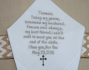 "GROOM Gift from BRIDE Custom Embroidered ""Can't Wait to Meet you at the End of the Aisle"" Wedding Handkerchief Personalized Hankie, Hanky"
